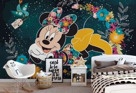 Minnie Mouse black & green photo wallpaper